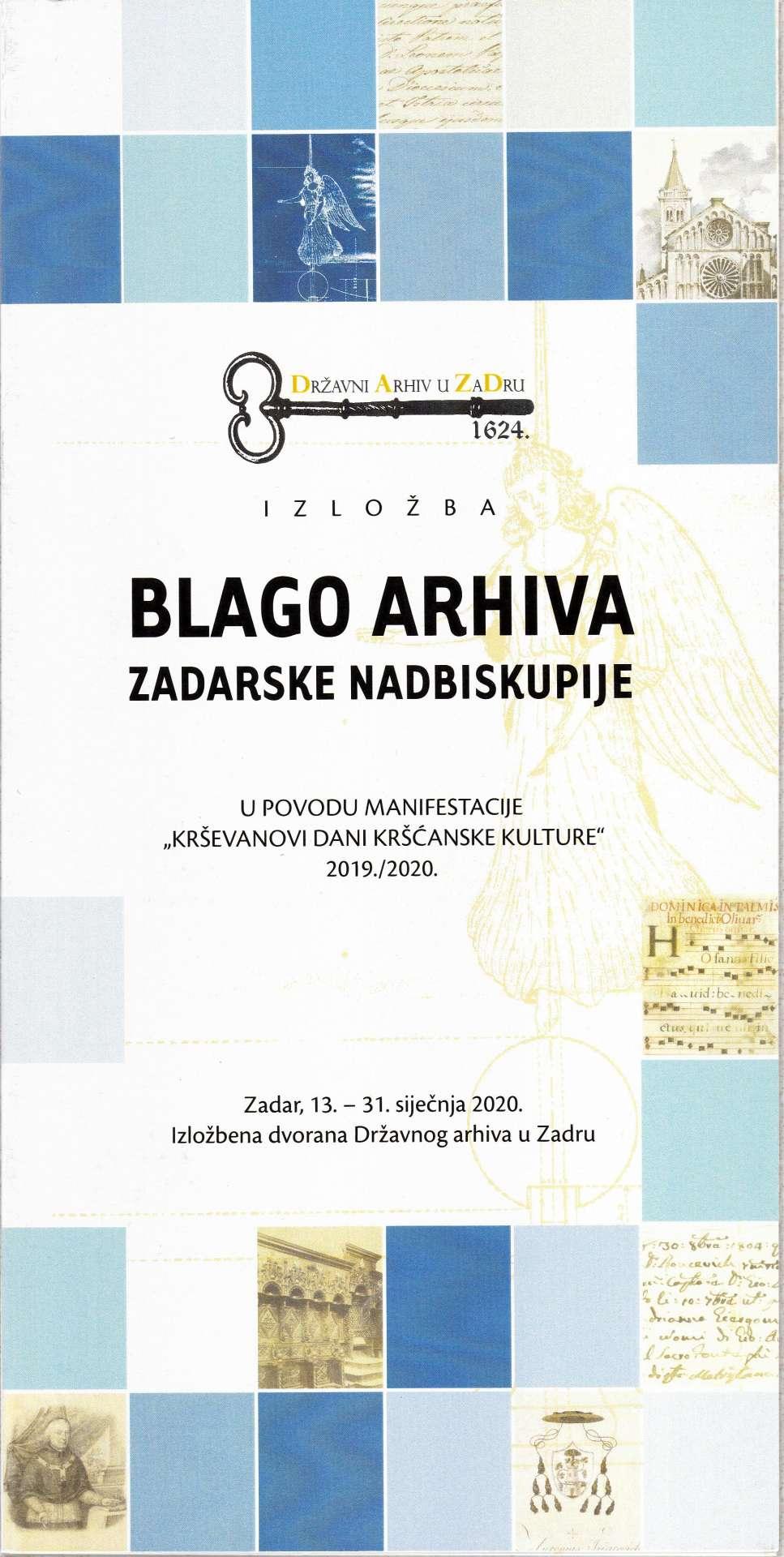 Blago arhiva Zadarske nadbiskupije