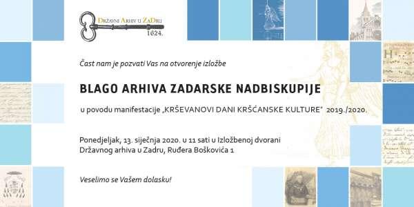 """Izložba """"Blago arhiva Zadarske nadbiskupije"""""""