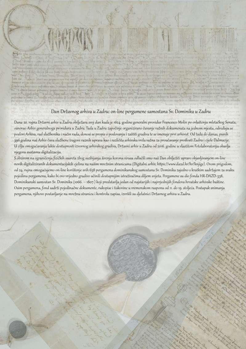 Dan Državnog arhiva u Zadru: on-line pergamene samostana sv. Dominika u Zadru