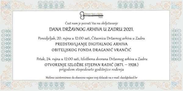 Dan Državnog arhiva u Zadru, 20. rujna 1624.-2021.
