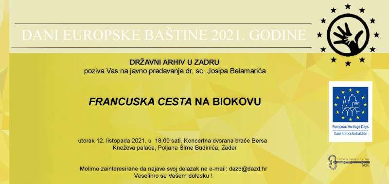 Dani europske baštine - Javno predavanje: dr. sc. Josip Belamarić